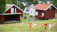epa04872994 Pennants hanging up on Utoya, Norway, 05 August 2015. Over 1,000 people are expected to attend a Norwegian Labour Party youth camp this week at the island where a right-wing extremist killed 69 people four years ago. The youth camp that opens