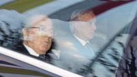 epa05071958 FIFA President Joseph S. Blatter (L) and his lawyer Lorenz Erni (R) arrive in a car at the FIFA headquarters 'Home of FIFA' in Zurich, Switzerland, 17 December 2015. While FIFA President Joseph S. Blatter will appear in person before