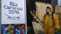 epaselect epa05127229 A local worker disinfects the famous Sambadrome in Rio de Janeiro, Brazil, 26 January 2016, ahead of the beginning of Rio's Carnival parades, on next 05 February, to fight against the mosquito Aedes aegypti, which spreads the
