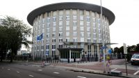epa03905358 (FILE) (FILE) A file picture dated 31 August 2013 shows the logo of the Organization for the Prohibition of Chemical Weapons (OPCW) outside its building in The Hague, The Netherlands. Reports on 11 October 2013 state Organization for the