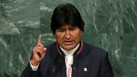 epa04949614 Evo Morales Ayma, President of Bolivia, speaks during a plenary meeting of the United Nations Sustainable Development Summit on the eve of the General Debate of the UN General Assembly in New York, New York, USA, 25 September 2015.  EPA/JUSTIN