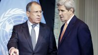 epa05003806 US Secretary of State John Kerry (R) and Russian Foreign Minister Sergei Lavrov (L) prior to a press conference on the international conference on Syria in Vienna, Austria, 30 October 2015. Nearly 20 top diplomats from regional rivals and key