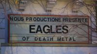 epa05033115 The front of the Bataclan concert venue, where terrorists killed 89 people, displays the band name 'Eagles of Death Metal' in Paris, France, 19 November 2015. Paris suffered terrorist attacks at the hands of the so-called Islamic