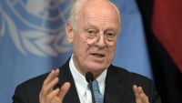 epa05025429 United Nations Special Envoy for Syria Staffan de Mistura during a news conference after an international conference on Syria, in Vienna, Austria, 14 November 2015. The international community plans to meet in Vienna to get to grips with the
