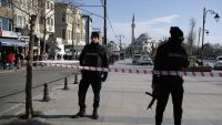 Policemen secure the historic Sultanahmet district after an explosion in Istanbul, Tuesday, Jan. 12, 2016. An explosion killed at least 10 people and wounded others Tuesday morning in a historic district of Istanbul popular with tourists. Turkish