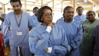 epa04716584 Dr. Matshidiso Rebecca Moeti (C), World Health Organization (WHO) Regional Director for Africa, and Bernice Dahn (C-R), Liberian Health Minister, listen to briefings at the Redemption Hospital, Newkru Town, Monrovia, Liberia, 22 April 2015.