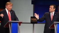 Republican presidential candidate, businessman Donald Trump, left, speaks as Republican presidential candidate, Sen. Ted Cruz, R-Texas, speaks during the Fox Business Network Republican presidential debate at the North Charleston Coliseum, Thursday, Jan.