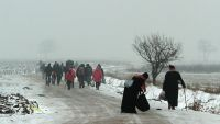 epa05088584 Migrants travel on foot through the snow and cold weather from Macedonia to a camp for the temporary acceptance of migrants in the village Miratovac on the border between Serbia and Macedonia, near to the south Serbian city of Presevo, Serbia,