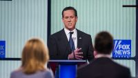 epa05132324 Former Pennsylvania Senator Rick Santorum participates in the undercard Republican Presidential debate, sponsored by Fox News and Google, at the Iowa Events Center in Des Moines, Iowa, USA, 28 January 2016. The Iowa caucuses, held on 01