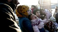 epa05149845 Syrian refugees wait for back to Syria near Oncupinar Border gate in Kilis, Turkey, 08 February 2016. Turkey said on 07 February that it does not yet see a need to open its border to the refugees. The situation is 'desperate' at