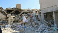 epa05162332 A handout image provided by the Medecins Sans Frontieres (MSF) or Doctors Without Borders organization, showing destruction and rubble at an MSF-supported hospital in Ma'arat Al Numan, Idlib province, northern Syria, largely destroyed in