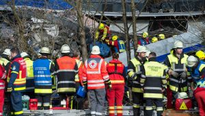 epa05150946 Rescue teams work at the site of a train accident near Bad Aibling, Germany, 09 February 2016. At least four people are dead and another 150 injured after two commuter trains collided head on near the southern German town of Bad Aibling,
