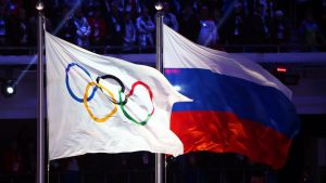 epa05439101 (FILE) A file picture dated 23 February 2014 of the Olympic flag (L) and the Russian flag (R) during the Closing Ceremony of the Sochi 2014 Olympic Games in the Fisht Olympic Stadium in Sochi, Russia. The International Olympic Committee (IOC)