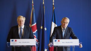 epa05445400 French Foreign Minister Jean Marc Ayrault (R) and Britain's new Foreign Secretary  Boris Johnson(L)  hold a joint press conference after their  meeting at the Ministry of Foreign Affairs in Paris, France, 28 July 2016.  EPA/JEREMY LEMPIN