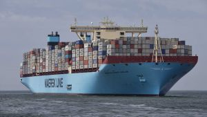 epa04309070 (FILE) A file picture dated 16 August 2013 shows the world's biggest container ship, named the Maersk MC-Kinney Moller arriving at the port of Rotterdam, The Netherlands. Two leading European container shippers unveiled plans on 10 July