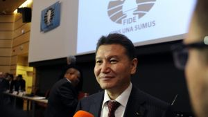 epa04349601 Kirsan Ilyumzhinov smiles after he was reelected President of the International Chess Federation (FIDE), in Tromso, Norway, 11 August 2014. Ilyumzhinov, who claims he had been abducted by aliens once, has been the head of FIDE since 1995 and