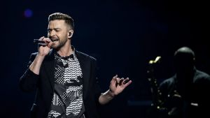 epa05304854 US singer Justin Timberlake performs after rehearsals for the Grand Final of the 61st annual Eurovision Song Contest (ESC) at the Ericsson Globe Arena in Stockholm, Sweden, 13 May 2016. The grand final takes place on 14 May.  EPA/MAJA SUSLIN