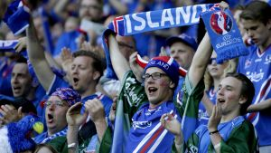 epa05365064 Iceland fans prior the UEFA EURO 2016 group F preliminary round match between Portugal and Iceland at Stade Geoffroy Guichard in Saint-Etienne, France, 14 June 2016.