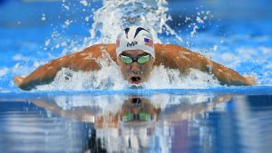 Michael Phelps swims in the men's 200-meter butterfly final at the U.S. Olympic swimming trials in Omaha, Neb., Wednesday, June 29, 2016. Phelps won the race. (AP Photo/Orlin Wagner)