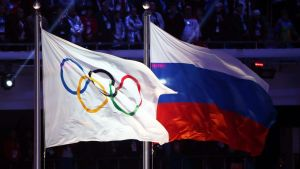 epa05022867 (FILE) A file picture dated 23 February 2014 of the Olympic flag (L) and the Russian flag (R) during the Closing Ceremony of the Sochi 2014 Olympic Games in the Fisht Olympic Stadium in Sochi, Russia. The ruling athletics body IAAF Council