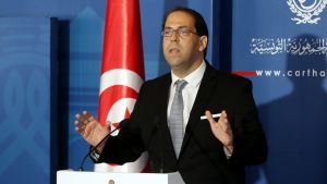 epa05453102 Tunisia's newly appointed prime minister Youssef Chahed speaks to media after being appointed by the Tunisian president at Carthage Palace in Carthage, Tunis,Tunisia, 03 August 2016.  EPA/MOHAMED MESSARA