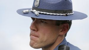 Washington State Patrol Sgt. Mark Francis, a public information officer, talks to reporters Saturday, Sept. 24, 2016, at the Cascade Mall in Burlington, Wash.  Authorities said Saturday several people were dead after the shooting Friday night and the