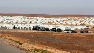 epa05135467 A general view for Azraq Syrian refugee camp, Jordan, 30 January 2016. Jordanian Prime Minister Abdullah Ensour visited the camp days before the Fourth international donors' conference in London to discuss the refugee crisis and ways to