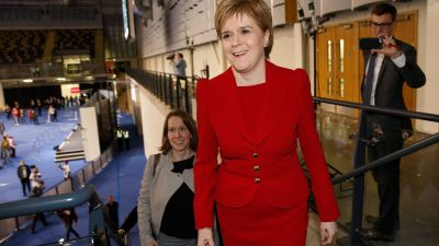 epa05291495 Leader of the Scottish National Party (SNP), Nicola Sturgeon reacts after a positive result for her party at the Emirates Arena in Glasgow, Scotland, Britain, 06 May 2016. The 2016 Scottish Parliament election, which elects 129 members to the