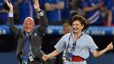 epa05395507 Iceland's first lady Dorrit Moussaieff (R) celebrates after the UEFA EURO 2016 round of 16 match between England and Iceland at Stade de Nice in Nice, France, 27 June 2016.