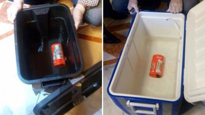 epa05398098 A composite picture made of file handout photographs released on 17 June 2016 by Egyptian Civil Aviation Ministry showing one of the two black boxes from the Egyptair plane that crashed in the Mediterranean after the two devices were retrieved