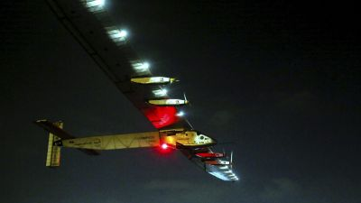 epa05438577 Swiss long-range experimental solar-powered aircraft, Solar Impulse 2 takes off from Cairo International Airport in Cairo, Egypt, 24 July 2016, as it heads to Abu Dhabi, United Arab Emirates, for its final leg of the round-the-world solar