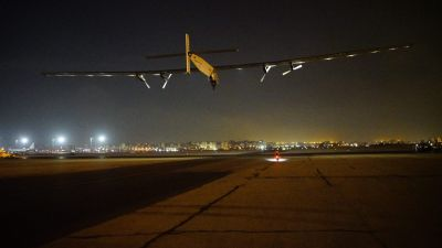epa05438580 A handout picture made available by Solar Impulse shows Swiss long-range experimental solar-powered aircraft Solar Impulse 2 taking off from Cairo International Airport in Cairo, Egypt, 24 July 2016, as it heads to Abu Dhabi, United Arab