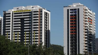 epa05439565 The buildings for the Australian (L) and Germany (R) athletes' delegations at the Olympic Village in Rio de Janeiro, Brazil, 24 July 2016. The Olympic Village will house the athletes who will compete in the Olympic Games which start on 05