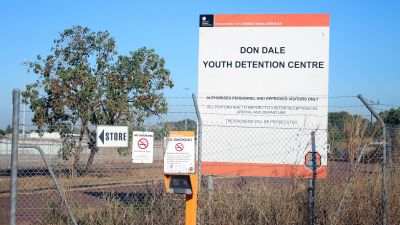 epa05442973 A general view shows a sign of the current Don Dale youth detention centre in Darwin, Northern Territory, Australia, 27 July 2016. Abusive treatment of young inmates at the previous centre by officers will be the subject of investigation of a