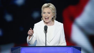 epa05446649 Democratic Presidential nominee Hillary Clinton speaks on stage during final day of the Democratic National Convention at the Wells Fargo Center in Philadelphia, Pennsylvania, USA, 28 July 2016. Hillary Clinton formally accepted the nomination