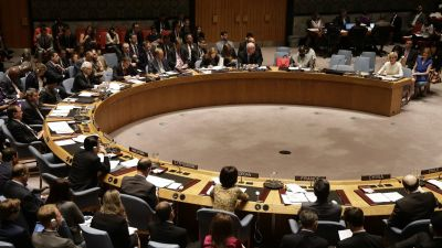 epa04865564 General view of the United Nations Security Council (UNSC) during a vote on the situation in the Ukraine and Malaysia Airlines Flight 17 at the UN headquarters in New York, USA, 29 July 2015. Russia vetoed a UN Security Council resolution