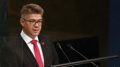 Iceland's Foreign Minister Gunnar Bragi Sveinsson addresses the 70th session of the United Nations General Assembly at U.N. headquarters, Friday, Oct. 2, 2015. (AP Photo/Jason DeCrow)