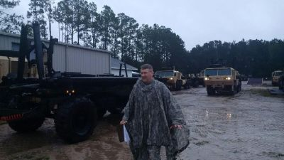 epa04965102 A handout picture made available by the South Carolina National Guard (SCNG) on 06 October 2015 shows SCNG soldiers with Company A of the 218th Brigade Support Battalion preparing to assist with flood recovery operations in Charleston, South