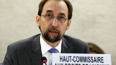epa04929690 UN High Commissioner for Human Rights, Zeid Ra'ad Al Hussein of Jordan, speaks on current humanitarian situation in the world during the opening of the 30th session of the Human Rights Council, at the UN's European headquarters in