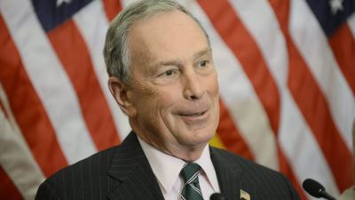 epa05121541 (FILES) A file photo dated 28 November 2012 of then New York City Mayor Michael Bloomberg delivering remarks during a news conference on New York's request for federal aid following Hurricane Sandy, on Capitol Hill in Washington DC, USA.
