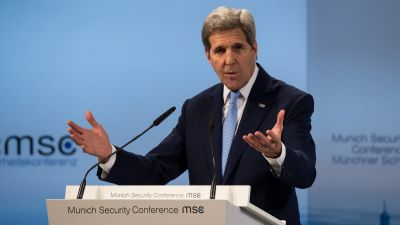 epa05157990 US Secretary of State John Kerry speaks at the 52nd Security Conference in Hotel Bayrischer Hof inMunich,Germany, 13 February 2016. The 52nd Security Conference, where foreign policy and defence experts are meeting to discuss global crises