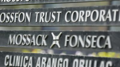 "A marquee of the Arango Orillac Building lists the Mossack Fonseca law firm, in Panama City, Monday, April 4, 2016. Panama's president says his government will cooperate ""vigorously"" with any judicial investigation arising from the leak of"