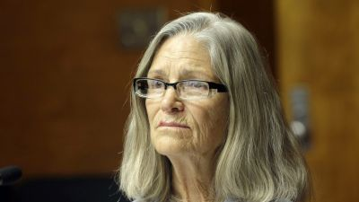 Former Charles Manson follower Leslie Van Houten is seen during a hearing before the California Board of Parole Hearings at the California Institution for Women in Chino, Calif., Thursday, April 14, 2016. The panel recommended parole for Van Houten more