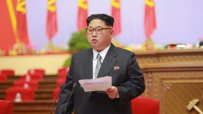 epa05292567 A picture made available on 07 May 2016 by North Korea's Korean Central News Agency (KCNA) shows North Korean leader Kim Jong-un speaking during the 7th Congress of the Workers' Party of Korea (WPK), the first such congress held in