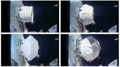 This combination of images provided by NASA shows the inflation of a new experimental room at the International Space Station on Saturday, May 28, 2016. Saturday was NASA's second shot at inflating the Bigelow Expandable Activity Module (BEAM), named