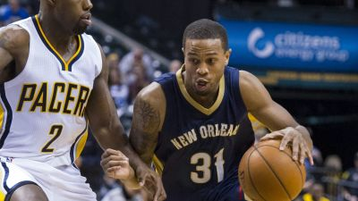 FILE - In this Oct. 3, 2015, file photo, New Orleans Pelicans' Bryce Dejean-Jones (31) drives the ball around the defense of Indiana Pacers' Rodney Stuckey (2) during the first half of a preseason NBA basketball game in Indianapolis. Police say