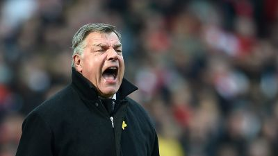 epa04662122 West Ham manager Sam Allardyce reacts during a English Premier League soccer match against Arsenal at the Emirates Stadium in London, Britain, 14 March 2015.  EPA/ANDY RAIN DataCo terms and conditions apply. http://www.epa.eu/downloads/DataCo