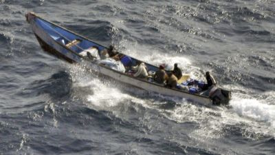epa02914782 A Spanish Ministry of Defense handout released on 11 September 2011 and made available on 13 September 2011 in Madrid, Spain, shows a longboat that attacked the 'Tribal Kat' catamaran and was intercepted by Spanish troops operating