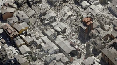 Aerial view of Amatrice in central Italy, Wednesday, Aug. 24, 2016, as it appears after a magnitude 6 quake struck at 3:36 a.m. (0136 GMT) and was felt across a broad swath of central Italy, including Rome where residents of the capital felt a long