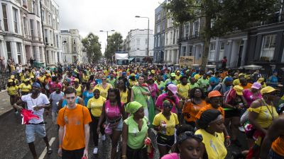 epa05512992 Revellers take part in the Children's Day parade of the Notting Hill Carnival in London, Britain, 28 August 2016. The street festival celebrates this year its 52nd anniversary and more than a million people are expected to attend on 28
